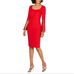 CALVIN KLEIN Blingy Bell Sleeve Sheath Dress